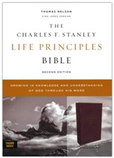 KJV Charles F. Stanley Life Principles Bible, Comfort Print--soft leather-look, burgundy (indexed)