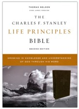 KJV Charles F. Stanley Life Principles Bible, Comfort Print--genuine leather, brown - Slightly Imperfect