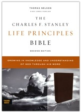 KJV Charles F. Stanley Life Principles Bible, Comfort Print--genuine leather, brown (indexed)