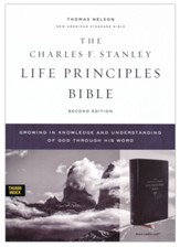 NASB Charles F. Stanley Life  Principles Bible, 2nd Edition, Comfort Print--soft leather-look, black (indexed) - Slightly Imperfect
