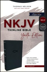 NKJV, Thinline Bible Youth Edition,  Leathersoft, Gray, Comfort Print