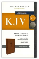 KJV, Value Thinline Bible, Compact, Leathersoft, Brown, Comfort Print