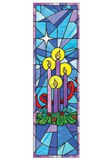 Celebrate Advent Stained Glass Fabric Banner, 2' x 6'