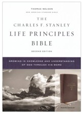 NASB Charles F. Stanley Life Principles Bible, 2nd Edition, Comfort Print--soft leather-look, burgundy