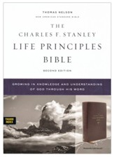 NASB Charles F. Stanley Life Principles Bible, 2nd Edition, Comfort Print--soft leather-look, burgundy (indexed)