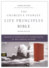 NASB Charles F. Stanley Life  Principles Bible, 2nd Edition, Comfort Print--genuine leather, brown (indexed) - Slightly Imperfect