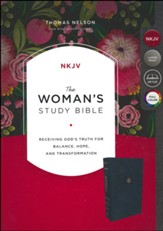 NKJV Woman's Study Bible--soft leather-look, navy blue  (indexed)
