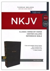 NKJV Classic Verse-by-Verse Center-Column Comfort Print Reference Bible--soft leather-look, black (indexed)