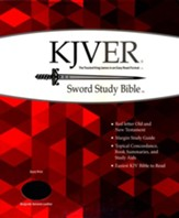 KJVer (Easy Reader) Giant Print Sword Study Bible, Genuine Leather Burgundy