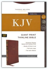 KJV Giant-Print Thinline Bible, Comfort Print--soft leather-look, brown (indexed, red letter)