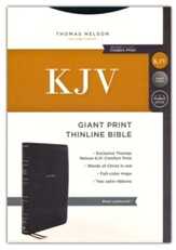 KJV Giant-Print Thinline Bible, Comfort Print--soft leather-look, black (red letter)