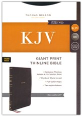 KJV Giant-Print Thinline Bible, Comfort Print--soft leather-look, black (indexed, red letter)