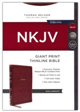 NKJV Giant-Print Thinline Bible,  Comfort Print--soft leather-look, brown (red letter)