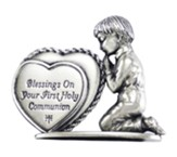 Blessings On Your First Holy Communion, Praying Boy with Heart, Figurine