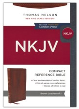 NKJV Large-Print Compact Reference Bible, Comfort Print--soft leather-look, brown (red letter)