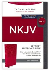 NKJV Large-Print Compact Reference Bible, Comfort Print--soft leather-look, pink (red letter)