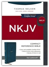 NKJV Large-Print Compact Reference Bible, Comfort Print--soft leather-look, teal (red letter)