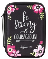 Be Strong and Courageous Bible Cover, Black, Large