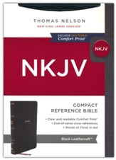 NKJV Large-Print Compact Reference Bible, Comfort Print--soft leather-look, black (red letter)