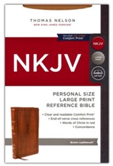 NKJV Personal-Size Large-Print Reference Bible, Comfort Print--soft leather-look, brown (red letter)
