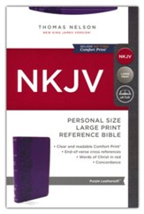 NKJV Personal-Size Large-Print Reference Bible, Comfort Print--soft leather-look, purple (red letter)