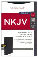 NKJV Personal-Size Large-Print Reference Bible, Comfort Print--soft leather-look, black (indexed, red letter)