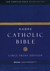 NABRE Large-Print Catholic Bible--soft leather-look, brown