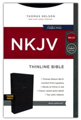 NKJV Comfort Print Thinline  Bible--soft leather-look, black (indexed)