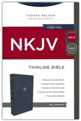 NKJV Comfort Print Thinline  Bible--soft leather-look, navy blue