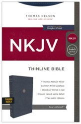 NKJV Comfort Print Thinline  Bible--soft leather-look, navy blue (indexed)