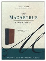 ESV MacArthur Study Bible, 2nd Edition--soft leather-look, brown