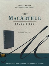 ESV MacArthur Study Bible, 2nd Edition--soft leather-look, black (indexed)