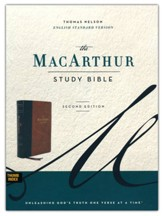 ESV MacArthur Study Bible, 2nd Edition--soft leather-look, brown (indexed)