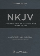 NKJV Large-Print Thinline Reference Bible, Comfort Print--premium goatskin leather, blue (Premier Collection)