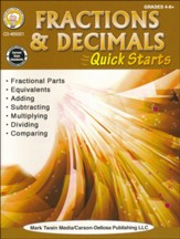 Fractions & Decimals Quick Starts, Grades 4 - 9