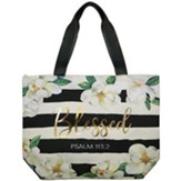 Blessed, Magnolia, Canvas Totebag