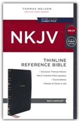 NKJV Thinline Reference Bible,  Comfort Print--soft leather-look, black