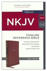 NKJV Thinline Reference Bible,  Comfort Print--soft leather-look, brown