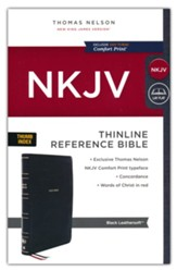 NKJV Thinline Reference Bible, Comfort Print--soft leather-look, black (indexed) - Slightly Imperfect