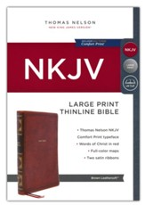 NKJV Large-Print Thinline Bible, Comfort Print--soft leather-look, brown