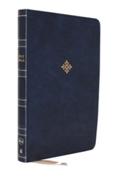 NKJV Large-Print Thinline Bible,  Comfort Print--soft leather-look, blue