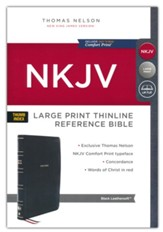 NKJV Large-Print Thinline Reference  Bible, Comfort Print--soft leather-look, black (indexed)