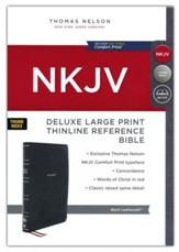 NKJV Large-Print Thinline Deluxe Reference Bible, Comfort Print--soft leather-look, black (indexed)