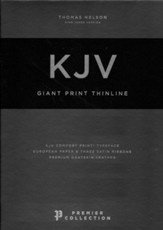 KJV Giant-Print Thinline Bible, Comfort Print--premium   goatskin leather, black (Premier Collection)