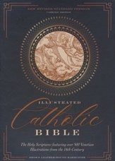 NRSVCE Illustrated Catholic Bible,  Comfort Print--genuine leather over board, brown