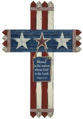 Blessed Is the Nation Picket Fence Cross