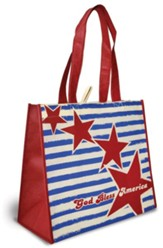 God Bless America Eco Tote Bag, Red Stars