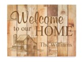 Personalized, Faux Wood Plaque, Welcome To Our Home,  Light Wood