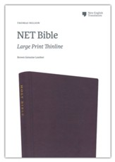 NET Thinline Large-Print  Bible--genuine leather, brown