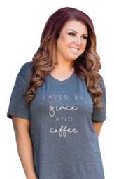 Saved By Grace and Coffee Shirt, Charcoal Gray, Small